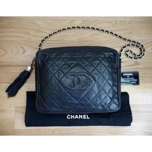 CHANEL~Black Quilted Large Camera Bag~Chain Handle